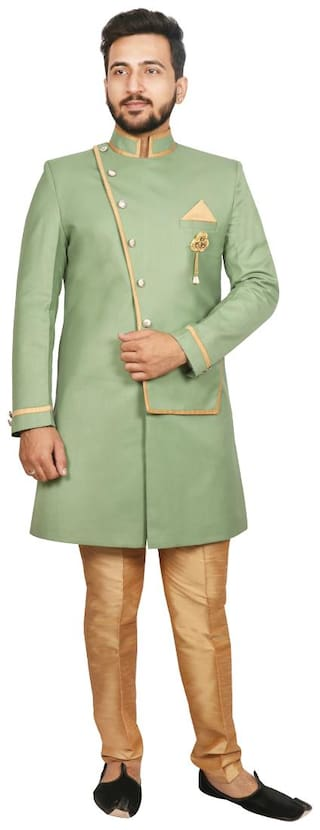 SG RAJASAHAB Silk Medium Sherwani - Green