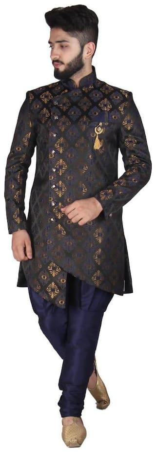 SG RAJASAHAB Silk Short Sherwani - Blue