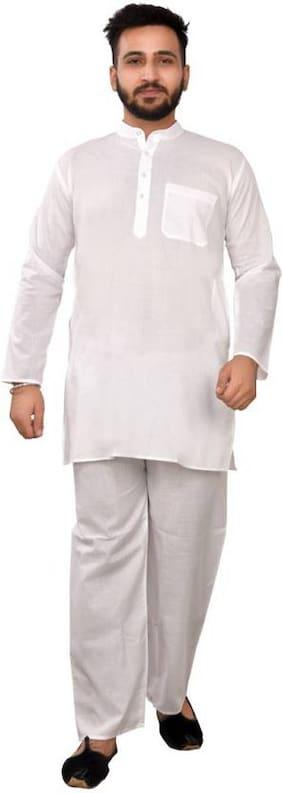 SG Men Regular Fit Cotton Full Sleeves Solid Kurta Pyjama - White