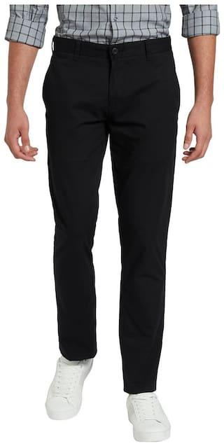 Parx Black Cotton Blend Tapered Fit Trouser