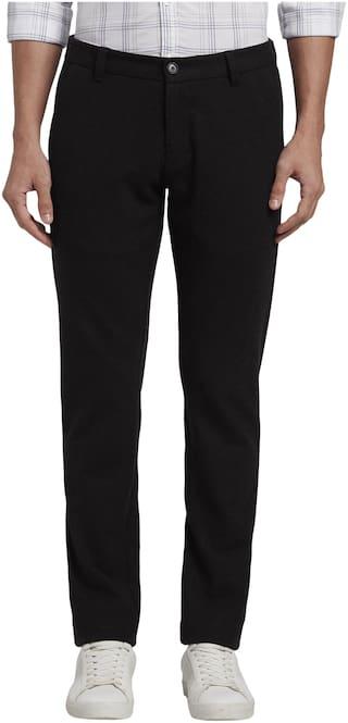 Parx Men Black Solid Tapered fit Regular trousers