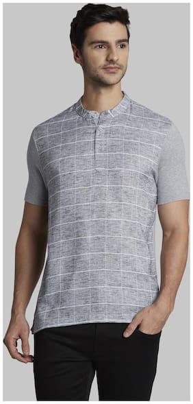 Men Henley Neck Printed T-Shirt