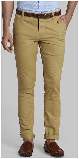 Parx Men Cotton Blend Slim Fit Solid Trousers Brown