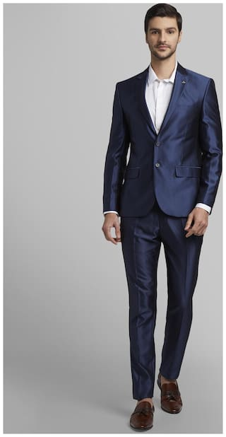 Parx Men Rayon Regular Fit Single Breasted Suit Blue