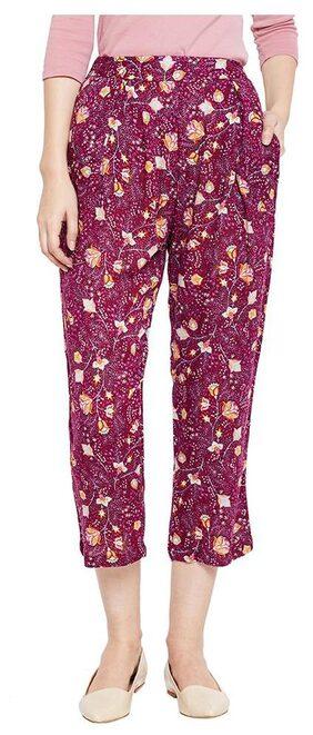 OXOLLOXO Women Regular Fit Mid Rise Printed Pants - Purple