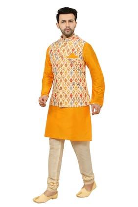 Paul Street Yellow Solid Kurta and Churidar With Jacket