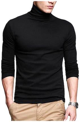 Pause Men Regular fit High neck Solid T-Shirt - Black