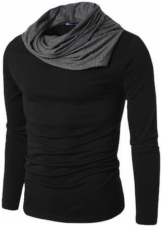 Pause Men Black Regular fit Cotton Cowl neck T-Shirt - Pack Of 1