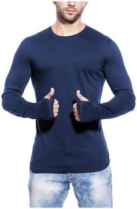 Pause Men Slim fit Round neck Printed T-Shirt - Blue