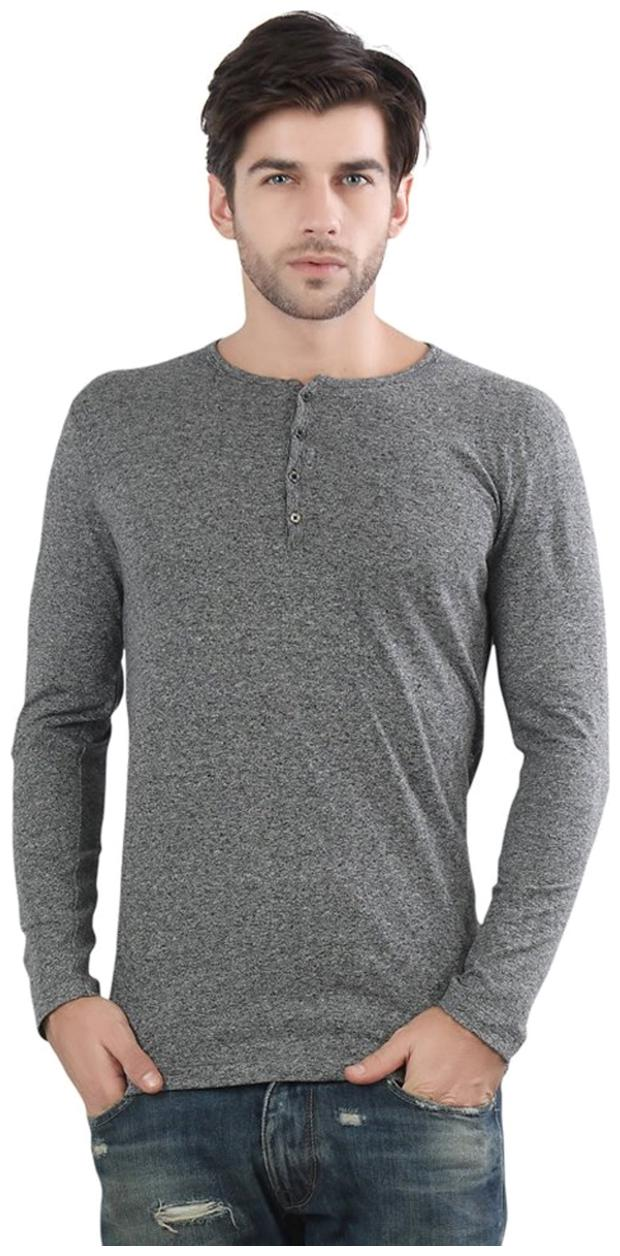 Pause Men Grey Slim fit Cotton Blend Henley neck T Shirt   Pack Of 1 by Pause