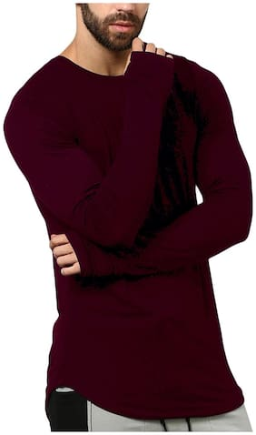 Pause Men Slim fit Round neck Solid T-Shirt - Maroon