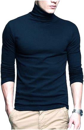 Pause Mens Navy blue High neck full sleeve T shirt