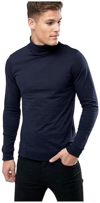Pause Men Navy blue Slim fit Cotton Blend High neck T-Shirt - Pack Of 1