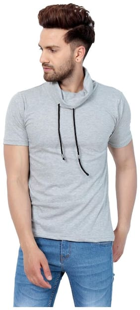 Men Cowl Neck Solid T-Shirt