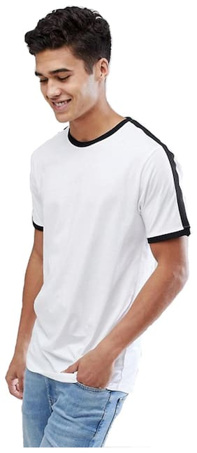 Pause Men Slim fit Round neck Solid T-Shirt - White