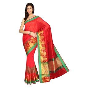 Pavecha's Banarasi Silk Cotton Blend Saree - TF Dno 1092 Red MK2794