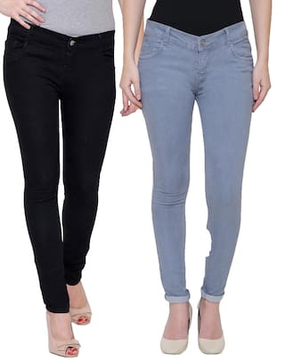 Pavis;Black;Grey Women Jeans Mid Waist Denim WO0qxwHOf