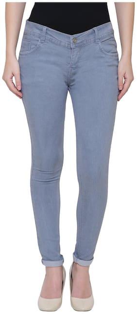 NJ's Women Regular fit Low rise Solid Jeans - Grey