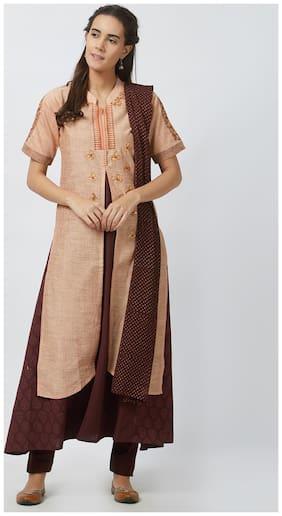 Payal Korasilk Half Sleeve With Mandarin Neck Women's Kurta;Churidar & Dupatta Set