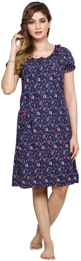 Paras Dyeing and Printing Mills Hosiery Night Gown Solid Nightwear Blue - (Pack of 1 )