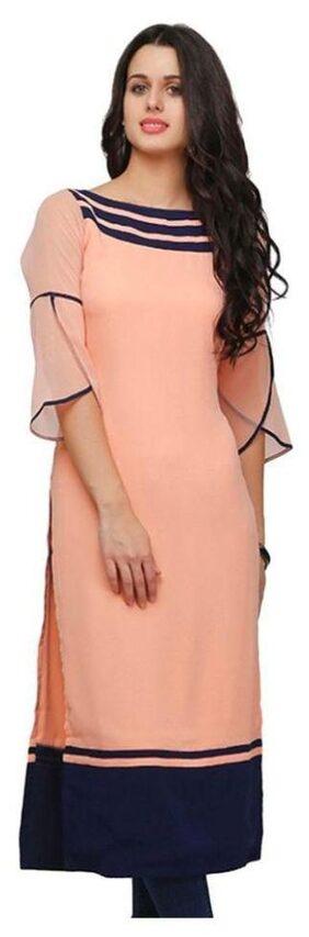 Urbane Woman Women Crepe Solid A Line Kurta - Pink