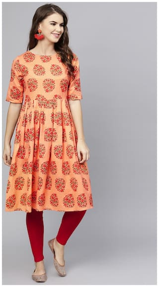 AASI- HOUSE OF NAYO Women Peach Floral Fit and Flare Kurta