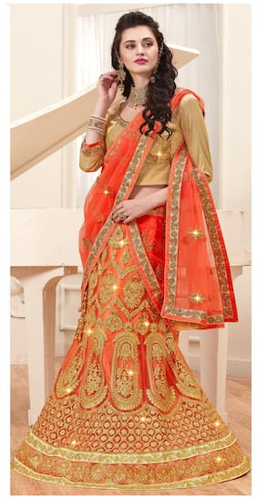 Aasvaa Net A-line Lehenga Choli - Orange