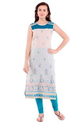 Pearly women's cotton paisely printed straight kurti
