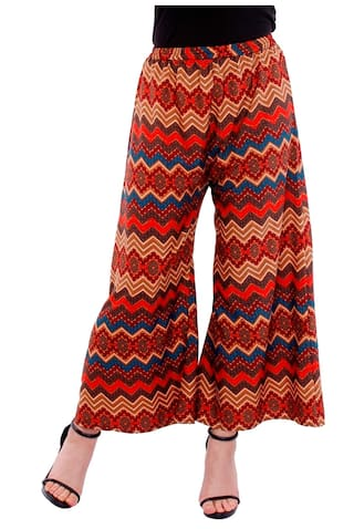 PEARLY WOMEN'S CREPE MULTY PRINTED FLAIRED PLAZZO PANT