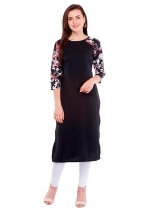 Pearly women's crepe printed fancy yoke front button attached smart fit kurti