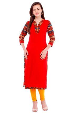 Pearly women's crepe zig zag printed yoke straight kurti