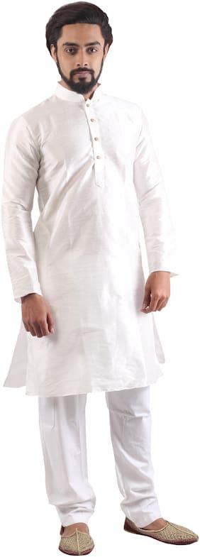 Pehanaava Blended Solid White Kurta Pyjama