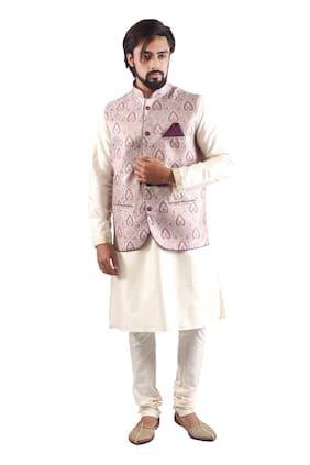 Pehanaava Fancy Jakat Slim Fit Men Modi and Nehru JacketBandi (Multi-Coloured) XXL