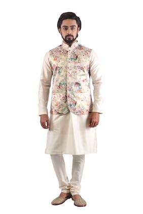 Pehanaava Satin Silk Printed Men Modi and Nehru Jacket Bandi (Multi-Coloured)