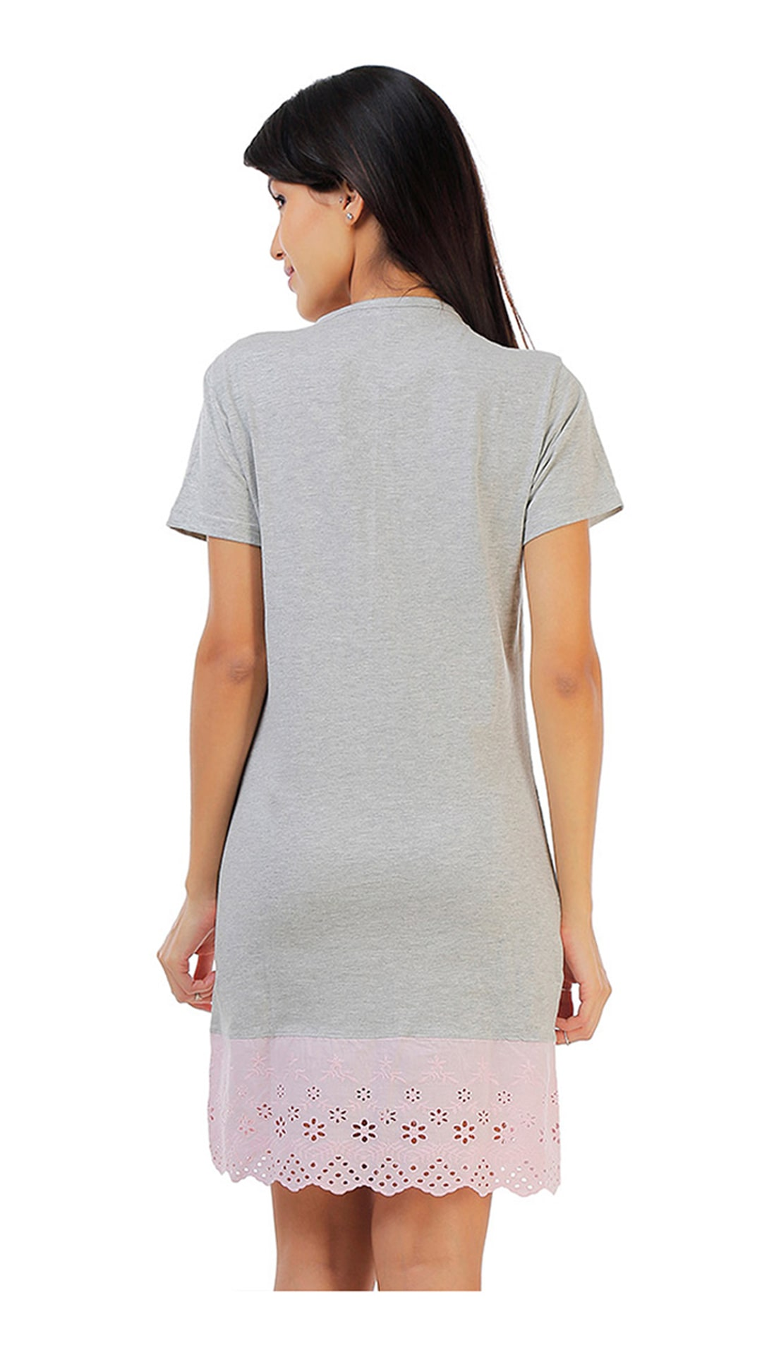 1f87ea20550 Buy Zivame Dreamwear Fine Cotton Short Nightdress With Hakoba Lace Hem-Grey  n Pink Online at Low Prices in India - Paytmmall.com