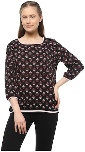 People Women Nylon Embroidered - A-line Top Black