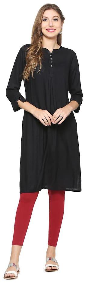 People Women Rayon Solid Straight Kurta - Black