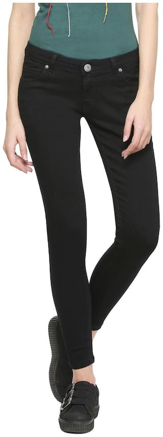 People Women Regular fit Mid rise Solid Jeans - Black