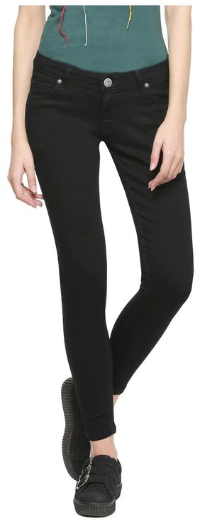 People Women Slim Fit Mid Rise Solid Jeans - Black