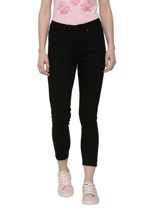 People Women Slim Fit Mid Rise Washed Jeans - Black