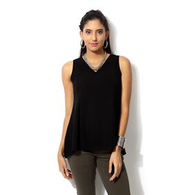 People Black Polyester Top