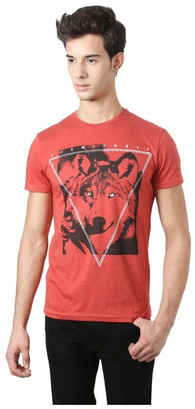 People Men's Regular Fit Printed T-Shirt - Red