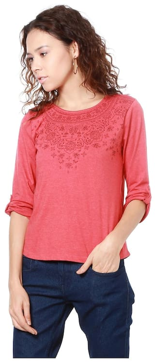People Women Blended Solid - Regular Top Red
