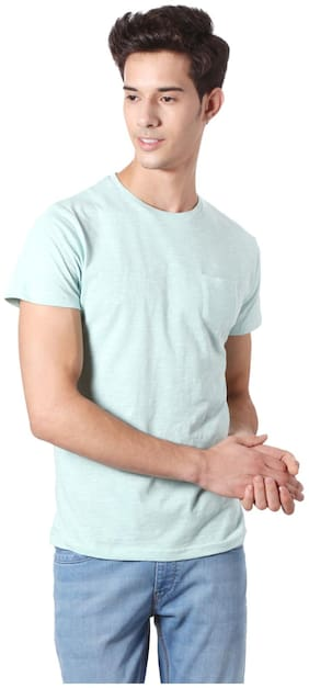 People Men Regular fit Round neck Solid T-Shirt - Blue