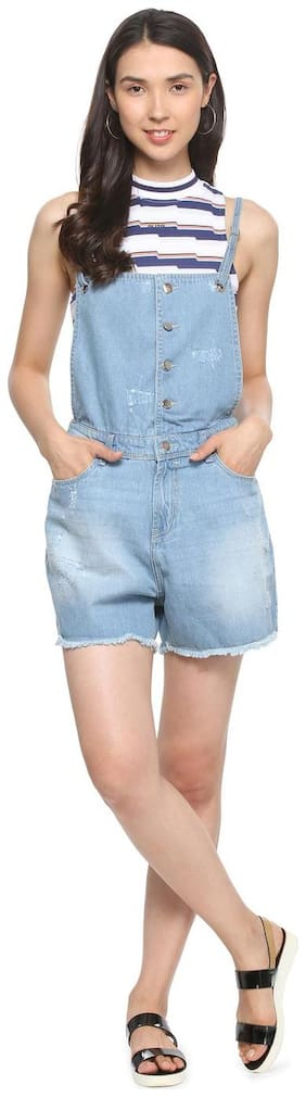 Women Solid Dungaree