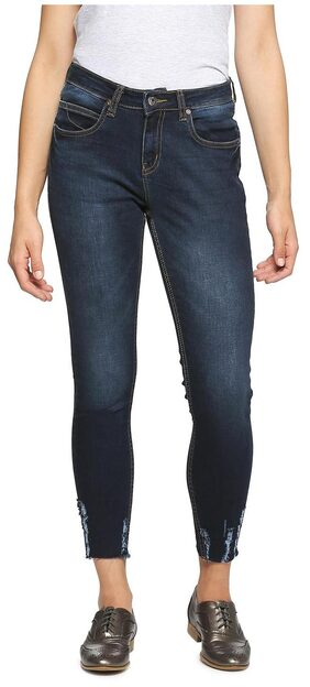 People Women Regular Fit Mid Rise Solid Jeans - Blue