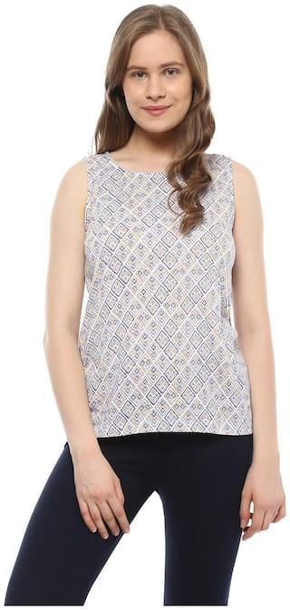 People Women Polyester Solid - A-line top Blue