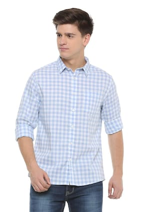 People Men Regular Fit Casual shirt - Blue