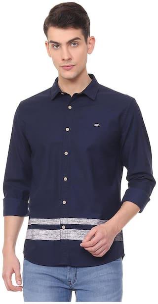 People Men Blue Solid Slim Fit Casual Shirt