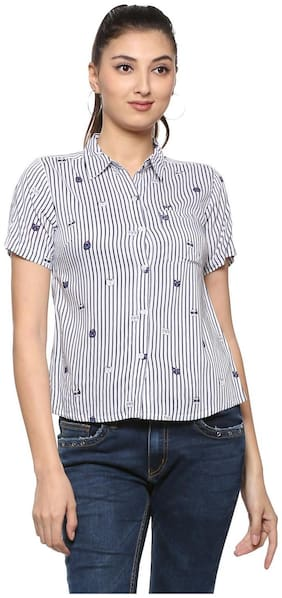 People Women Regular Fit Striped Shirt - Blue